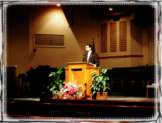my son at the pulpit
