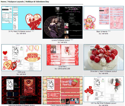 Valentine MySpace Layouts