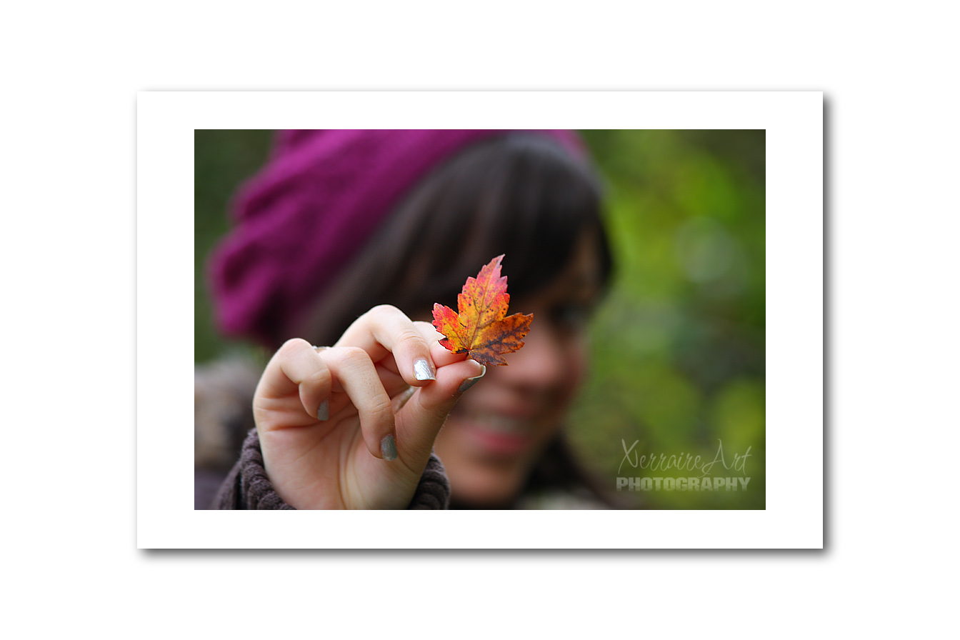 Laura with a tiny leaf