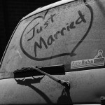 This is what you do after the honeymoon in the southwest, write Just Married in the car's dust